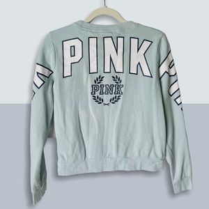PINK VS Logo Perfect Campus Crew Cropped Pullover